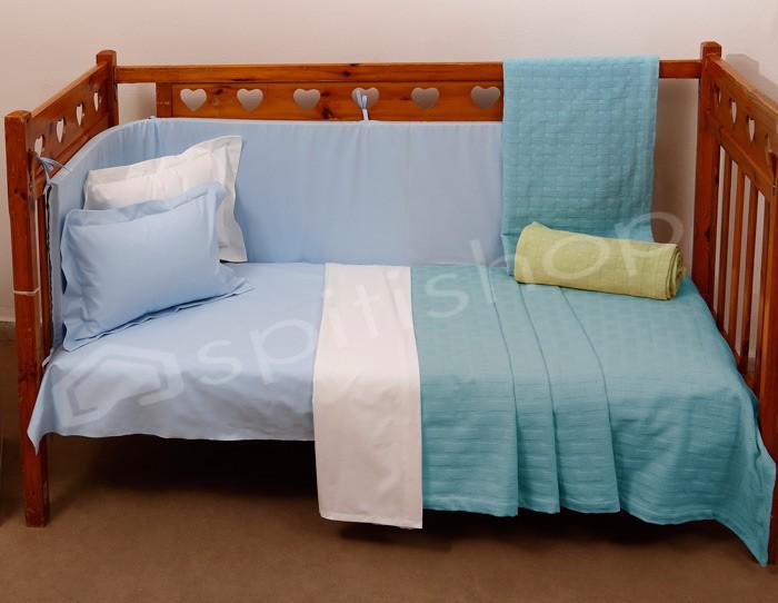 Κουβερτόριο Κούνιας Anna Riska Baby Dominic Sky Blue home   βρεφικά   κουβέρτες βρεφικές   κουβέρτες καλοκαιρινές