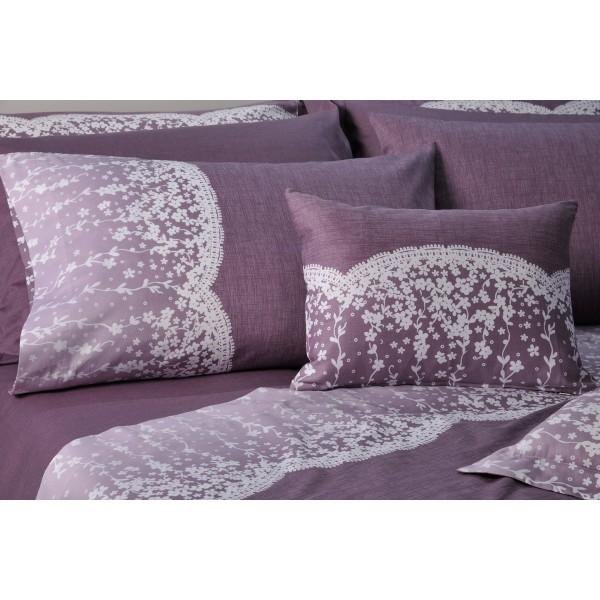 Ζεύγος Μαξιλαροθήκες Oxford Down Town Lace Purple Primo S 622