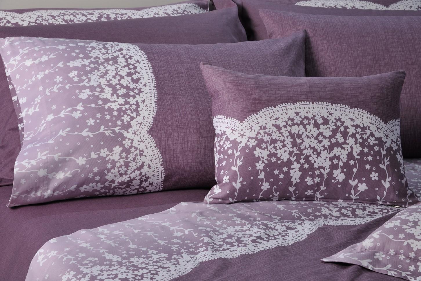Ζεύγος Μαξιλαροθήκες Με Φάσα Down Town Lace Purple S 622