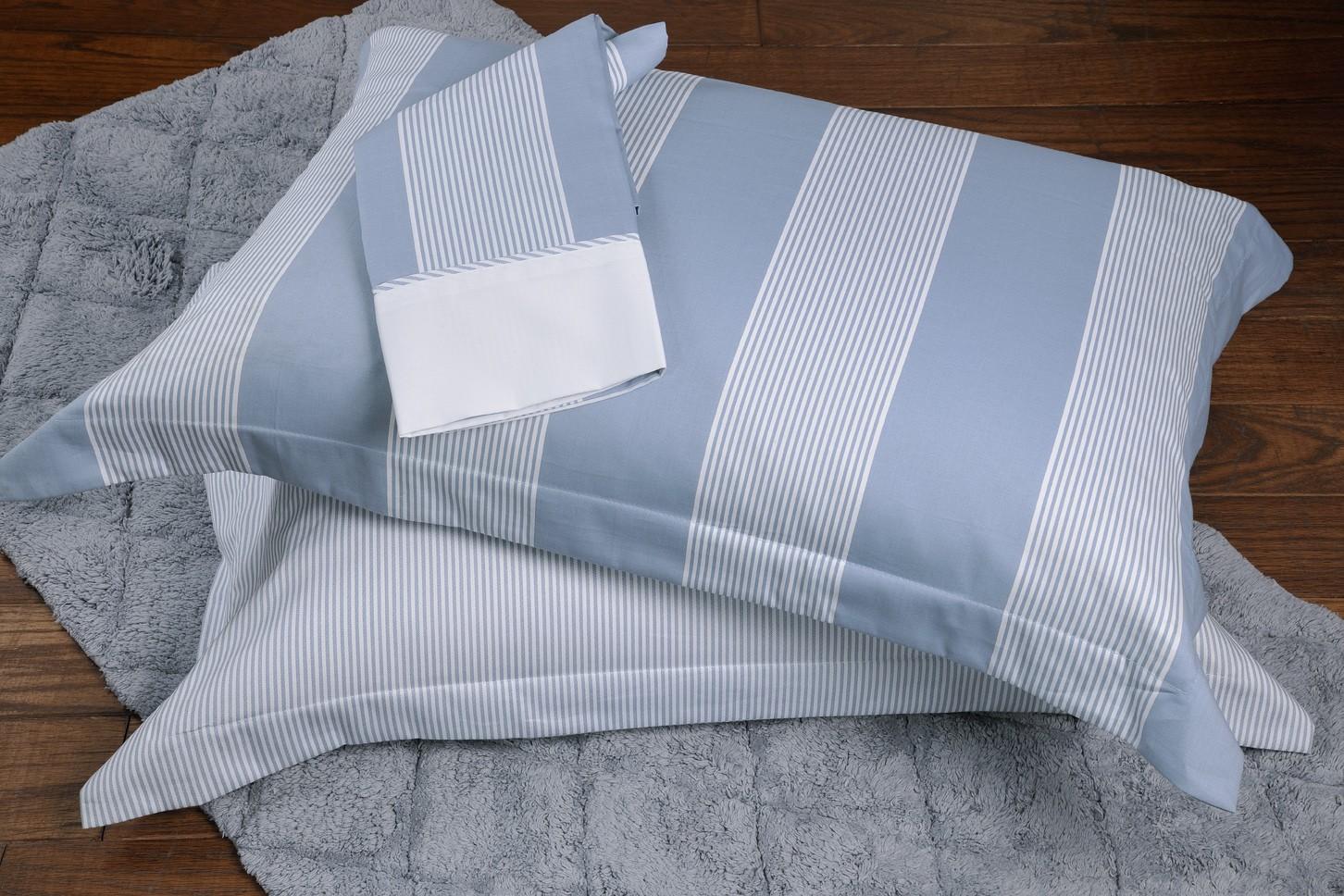 Παπλωματοθήκη Μονή (Σετ) Down Town Primo Wide Stripes Blue