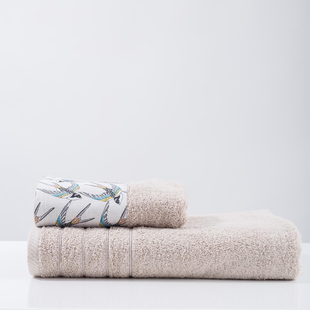 Πετσέτα Προσώπου (50×90) White Fabric Swallow Beige