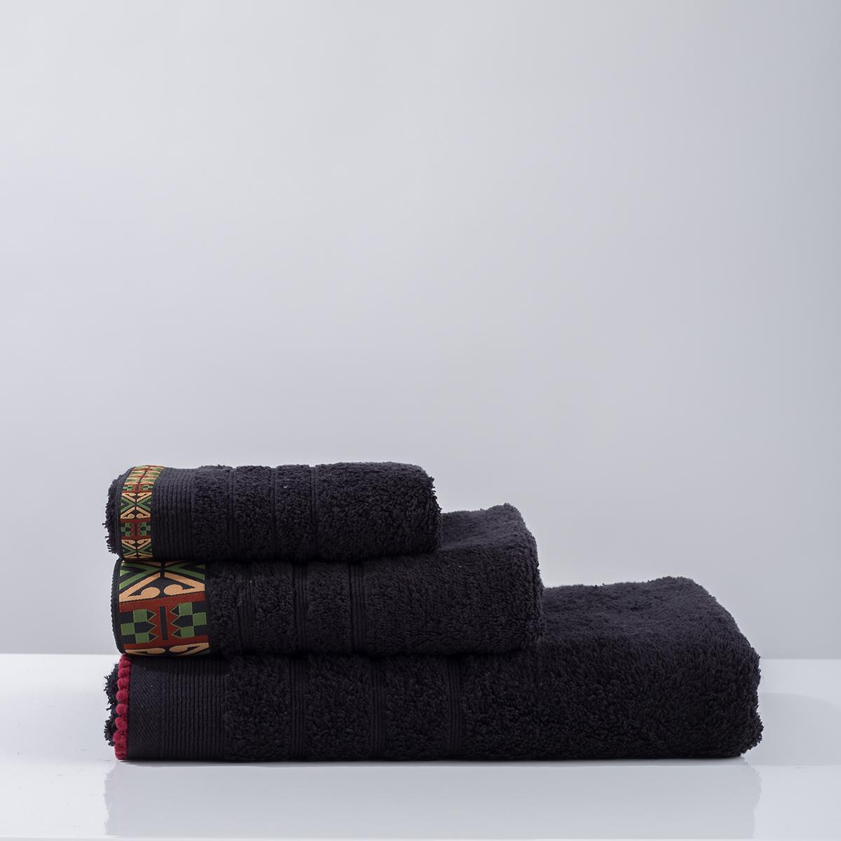 Πετσέτα Χεριών (30x50) White Fabric Perrin Black