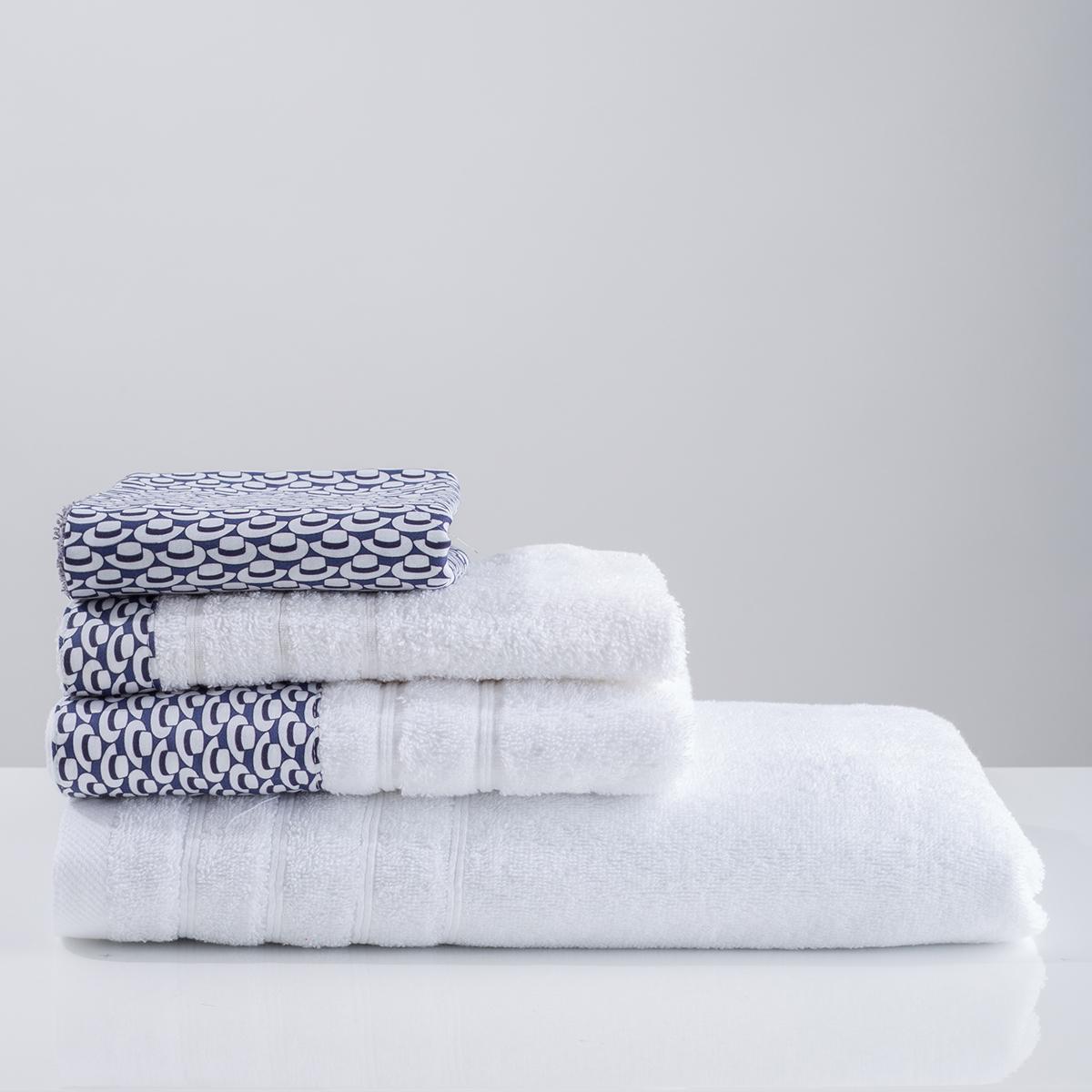Πετσέτες Μπάνιου (Σετ 3τμχ) White Fabric Telendo White