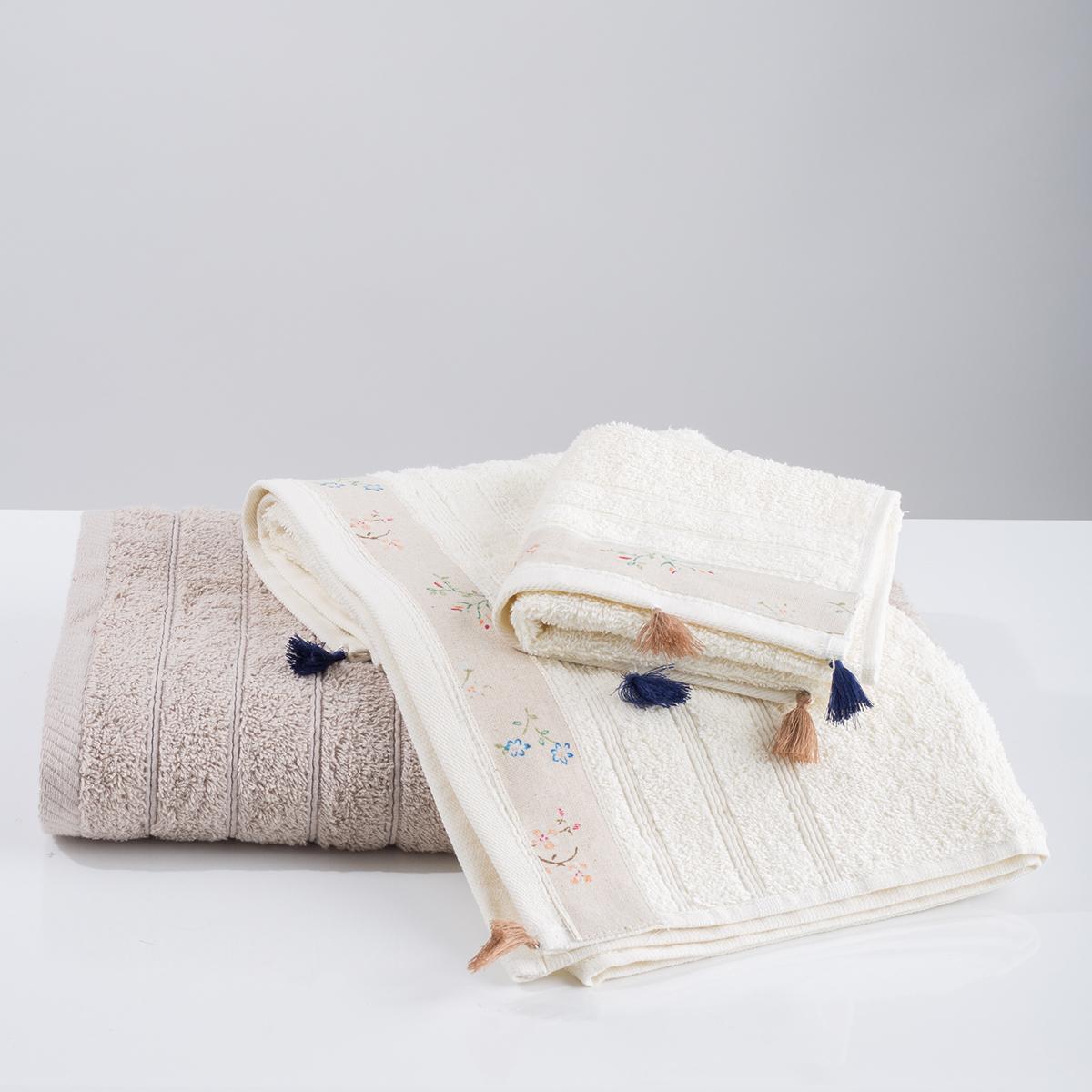 Πετσέτα Προσώπου (50×90) White Fabric Annie Beige