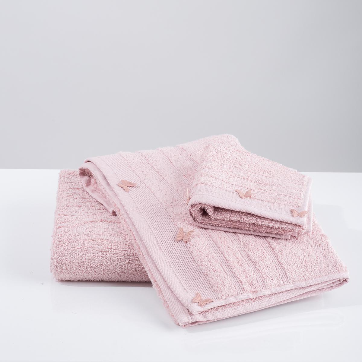 Πετσέτες Μπάνιου (Σετ 3τμχ) White Fabric Butterflies Applique Pink