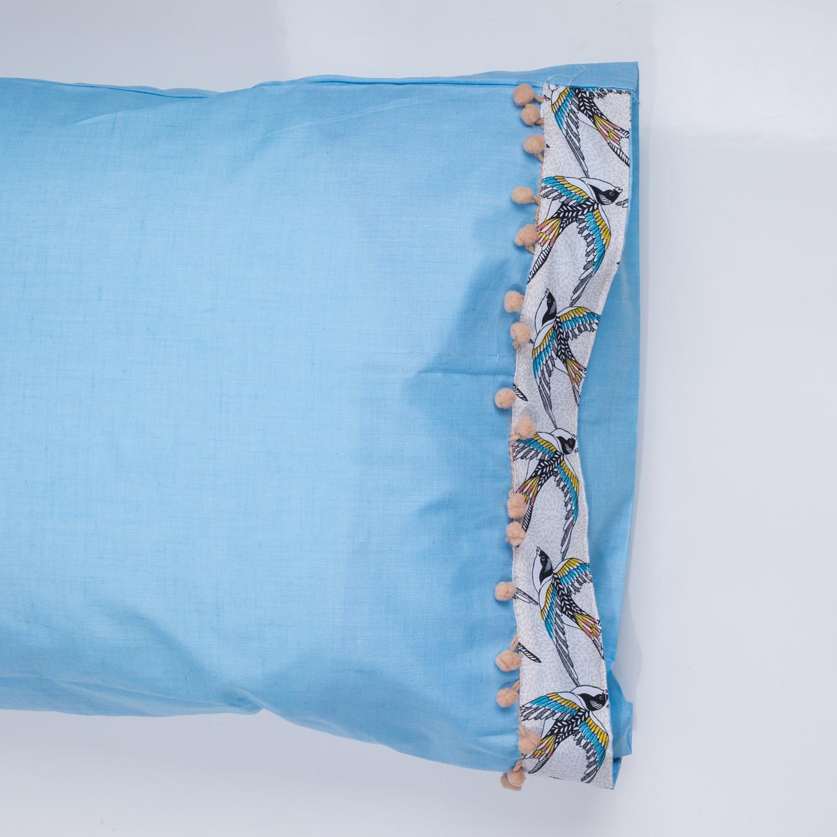 Ζεύγος Μαξιλαροθήκες White Fabric Swallow Blue