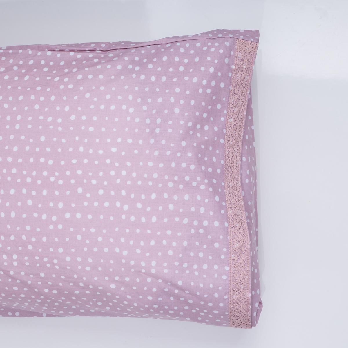 Ζεύγος Μαξιλαροθήκες White Fabric Dottie Pink