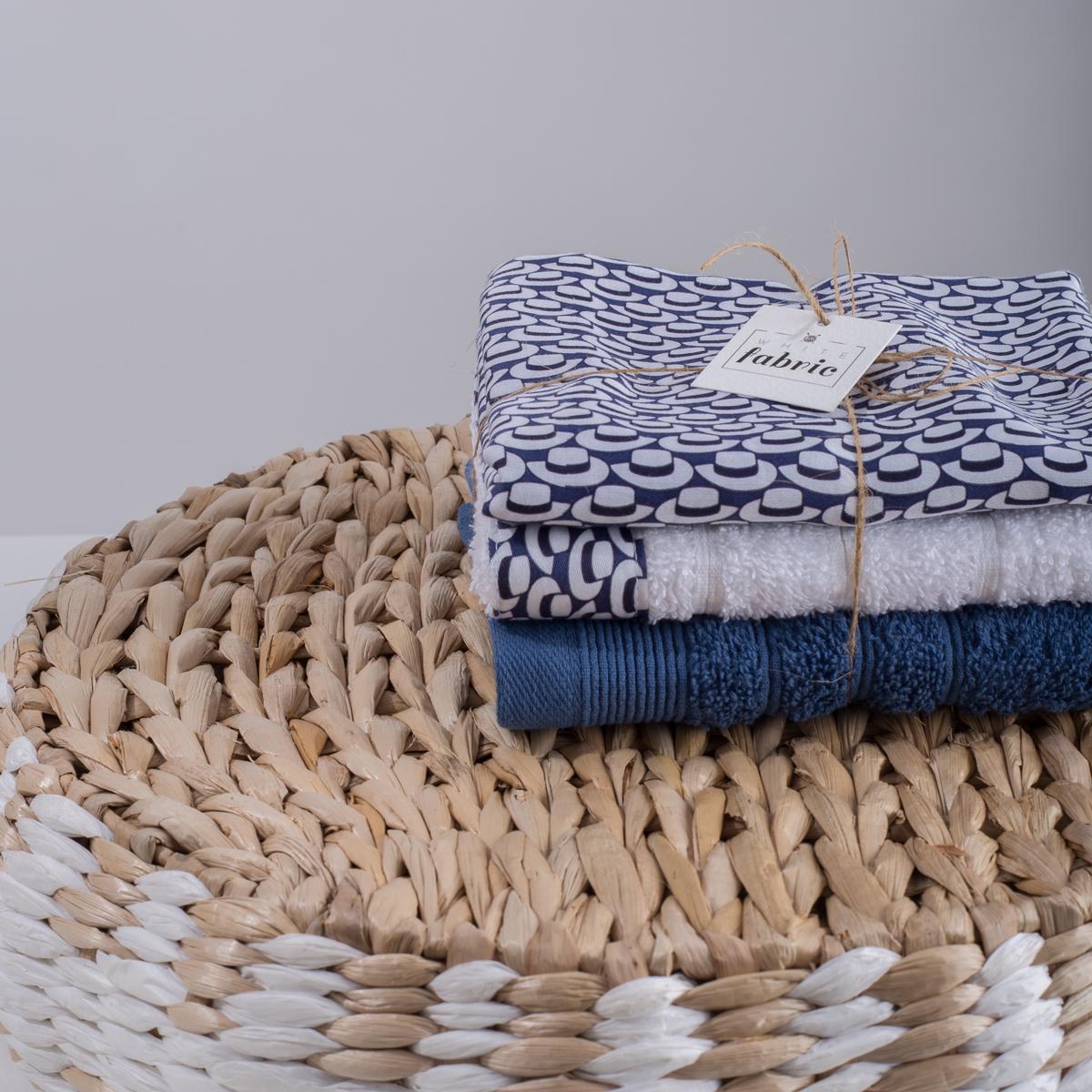 Πετσέτες Χεριών (Σετ 3τμχ) White Fabric Telendo Multi