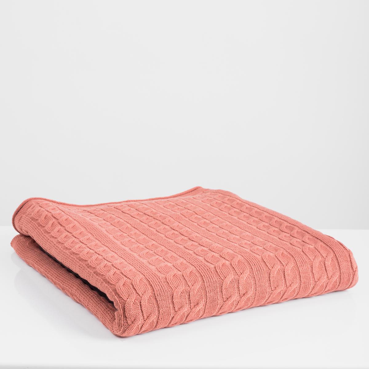 Κουβέρτα Καναπέ Πλεκτή White Fabric Ada Dusty Pink