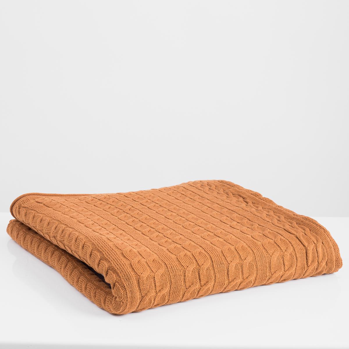 Κουβέρτα Καναπέ Πλεκτή White Fabric Ada Orange