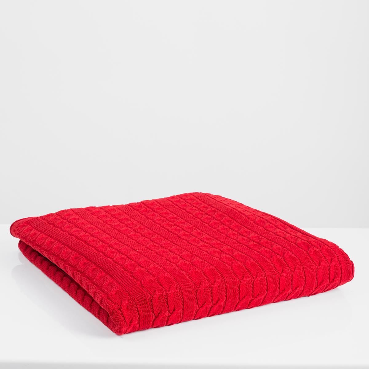 Κουβέρτα Καναπέ Πλεκτή White Fabric Ada Red
