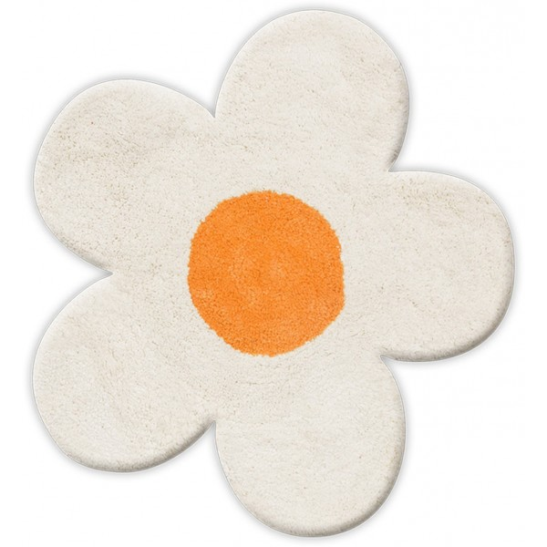 Πατάκι Μπάνιου (60x60) San Lorentzo DBL Face Daisy White/Orange
