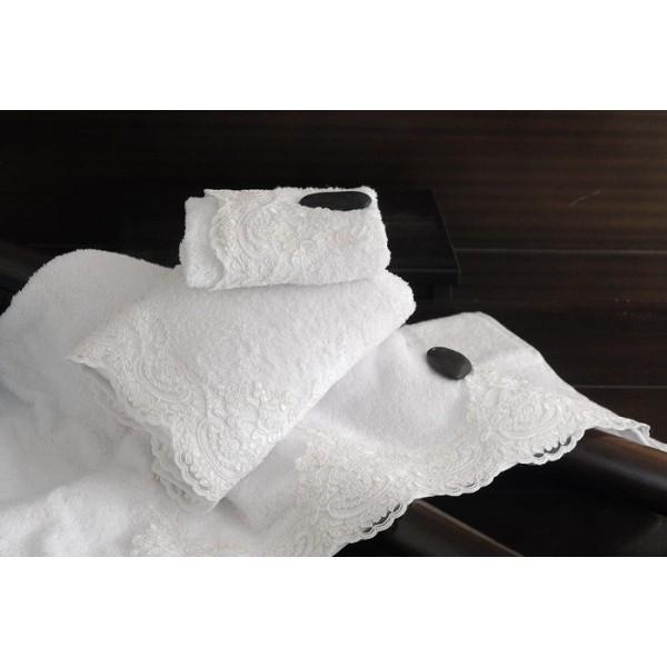 Πετσέτες Μπάνιου (Σετ 3τμχ) Rythmos Margherita White