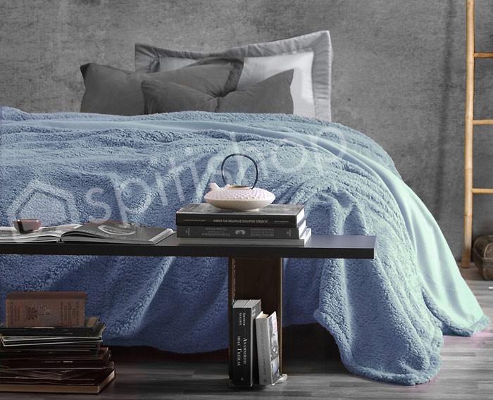 Κουβέρτα Fleece Υπέρδιπλη Rythmos Sherpa Blue