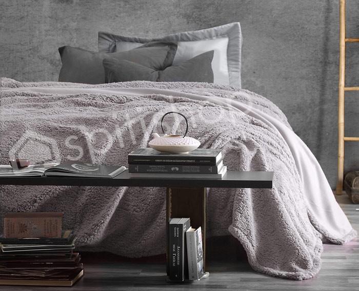 Κουβέρτα Fleece Υπέρδιπλη Rythmos Sherpa Grey