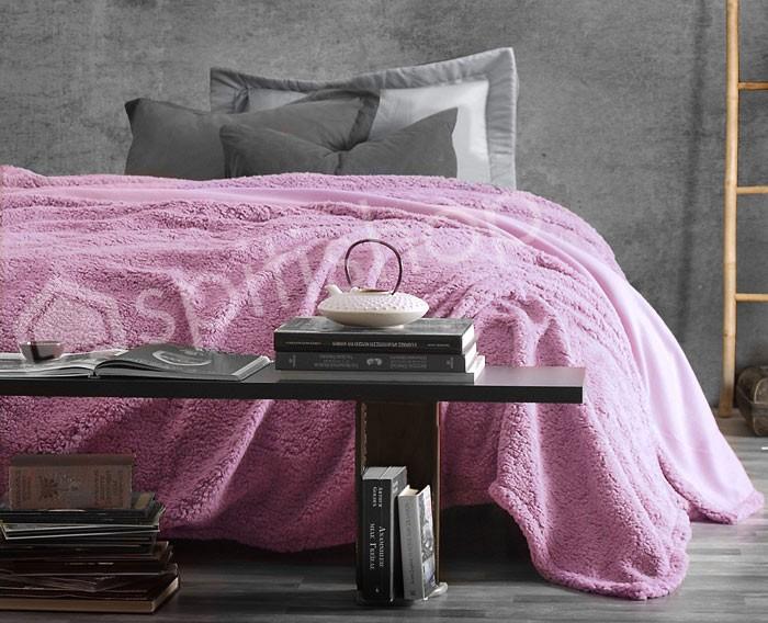 Κουβέρτα Fleece Υπέρδιπλη Rythmos Sherpa Lilac