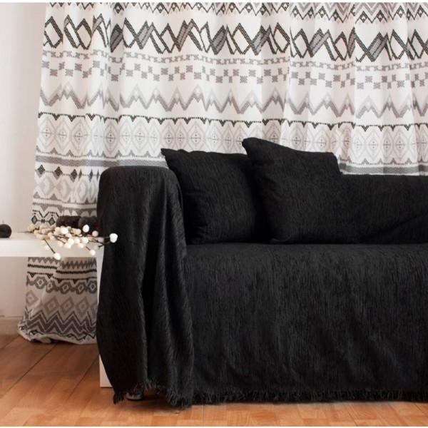 Ριχτάρι Τριθέσιου (180x280) Chenille Black