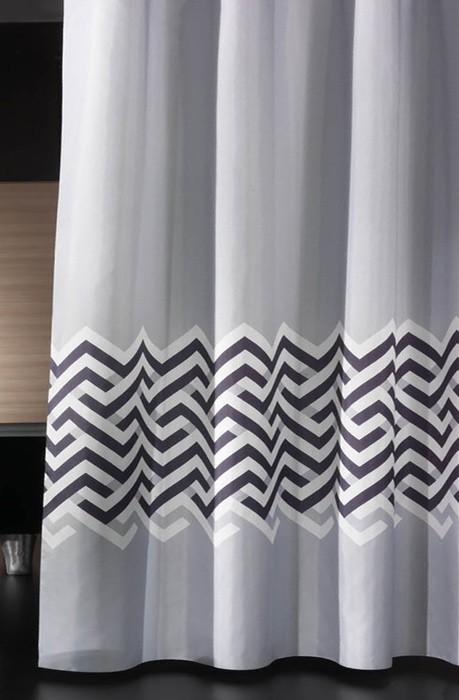 Κουρτίνα Μπάνιου Υφασμάτινη Guy Laroche Nero Silver 180×190