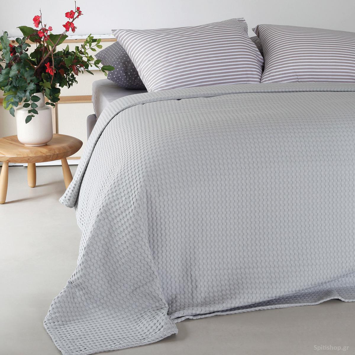 Κουβέρτα Πικέ Υπέρδιπλη Melinen Patmos Silver