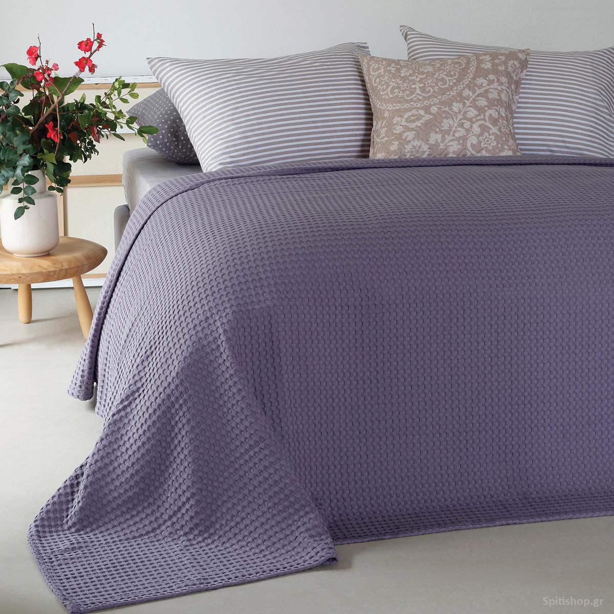 Κουβέρτα Πικέ King Size Melinen Patmos Dark Lilac