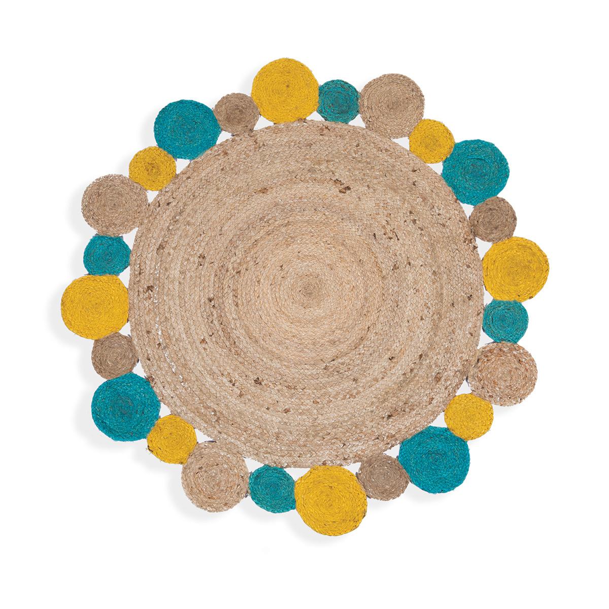 Στρογγυλό Χαλί Καλοκαιρινό (Φ120) Nef-Nef Jute Yellow/Aqua