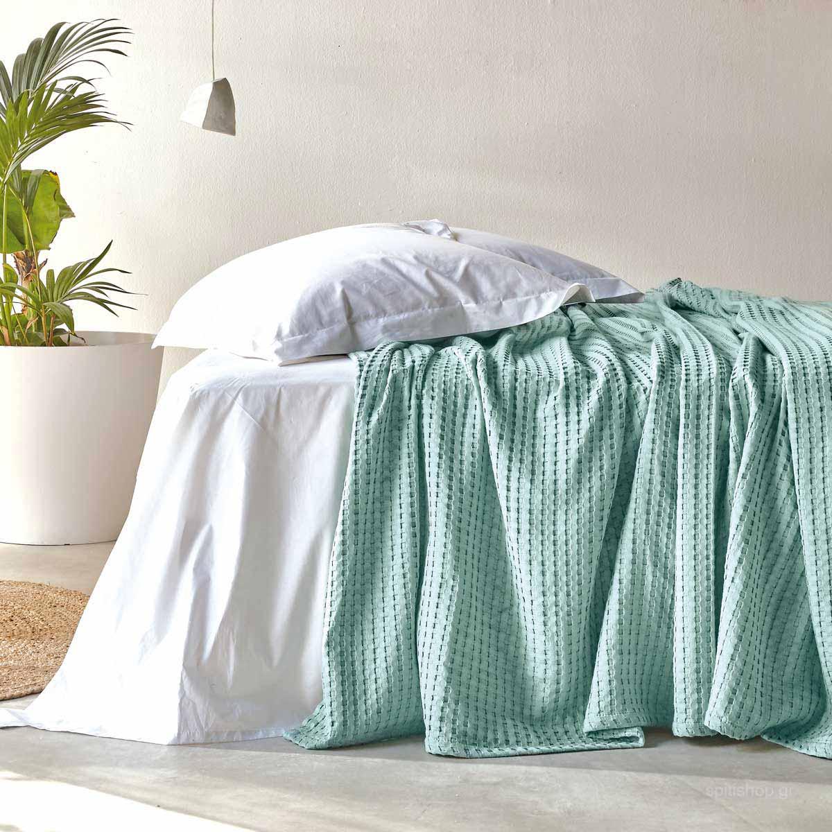 Κουβέρτα Πικέ Ημίδιπλη Kentia Loft Soho 02 Mint