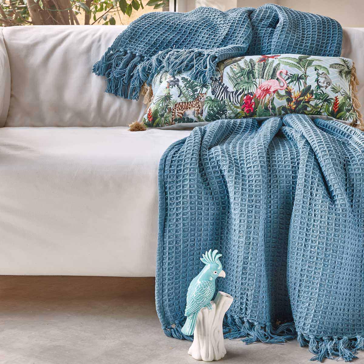 Κουβέρτα Πλεκτή Υπέρδιπλη Kentia Loft Sofia 19 Blue