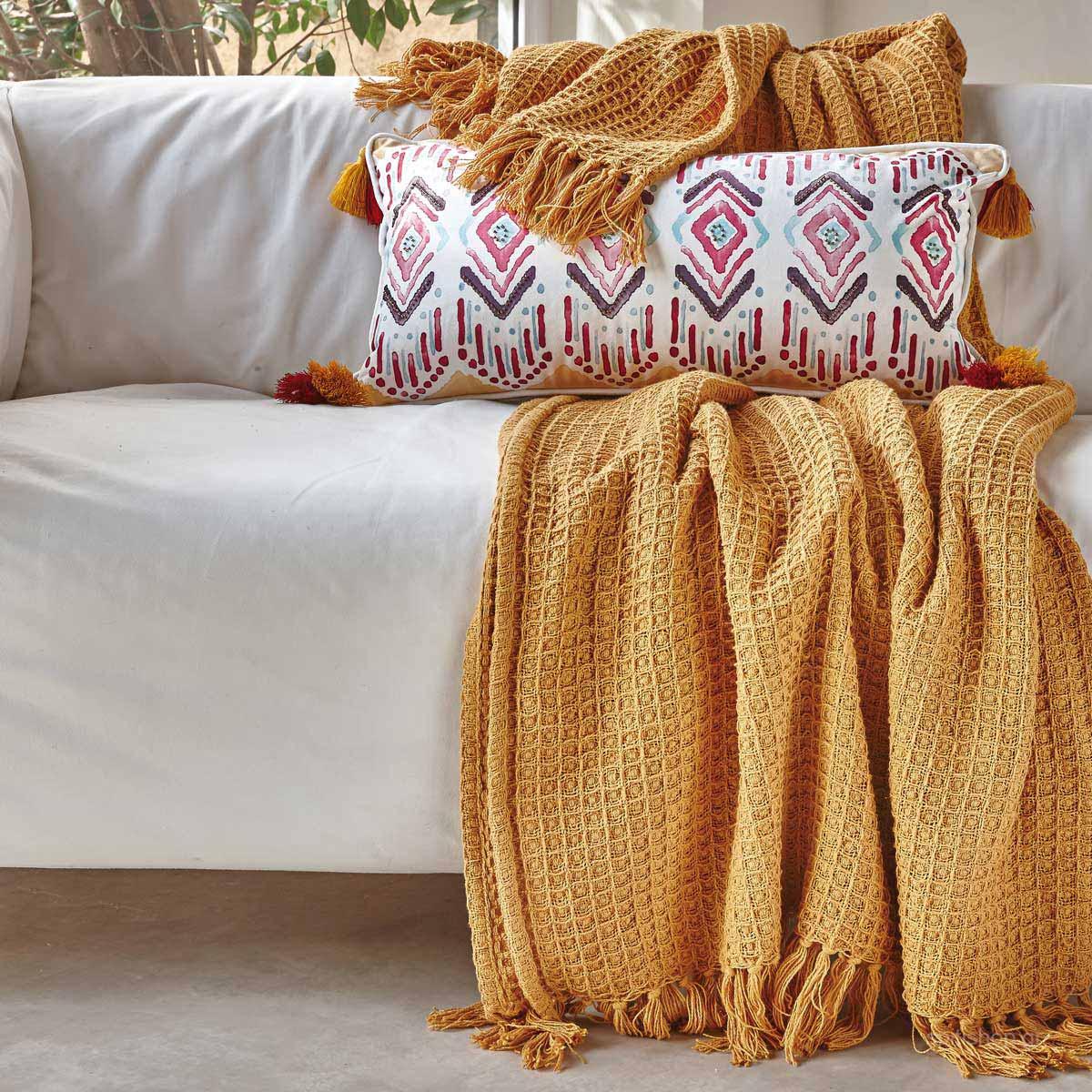 Κουβέρτα Πλεκτή Μονή Kentia Loft Sofia 28 Mustard