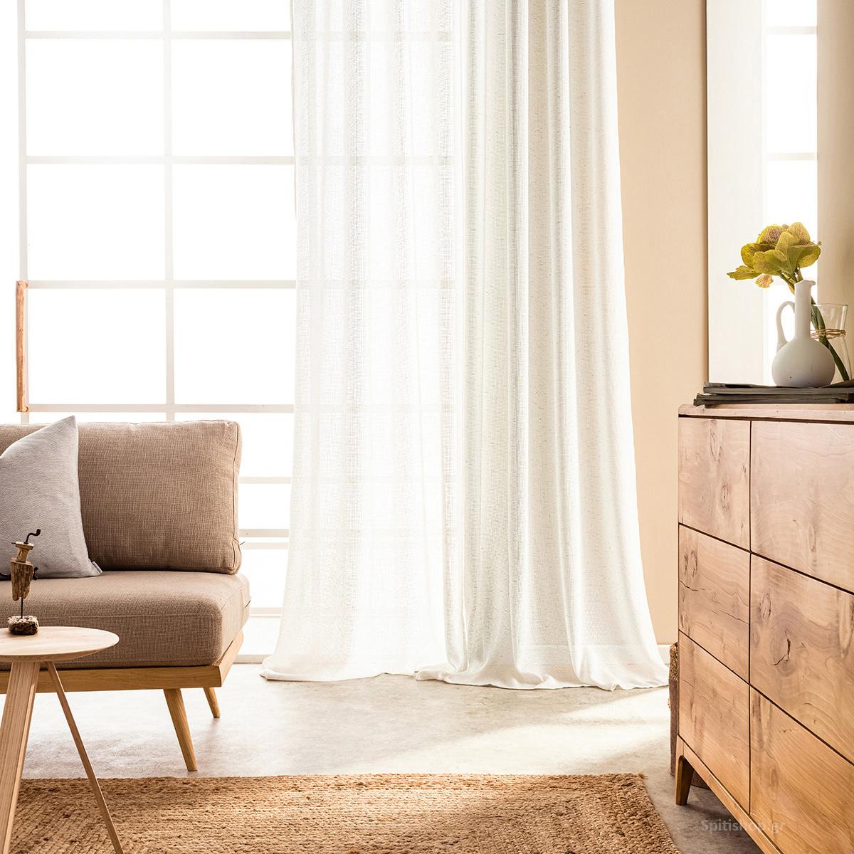 Κουρτίνα (140×280) Με Τρουκς Gofis Home Iria Off White 865/05
