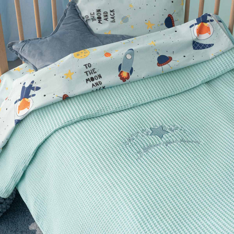 Κουβέρτα Πικέ Κούνιας Palamaiki Dreams Mint