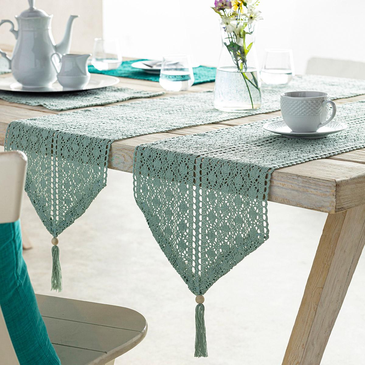 Τραβέρσα Gofis Home Crochet Aqua 019/11