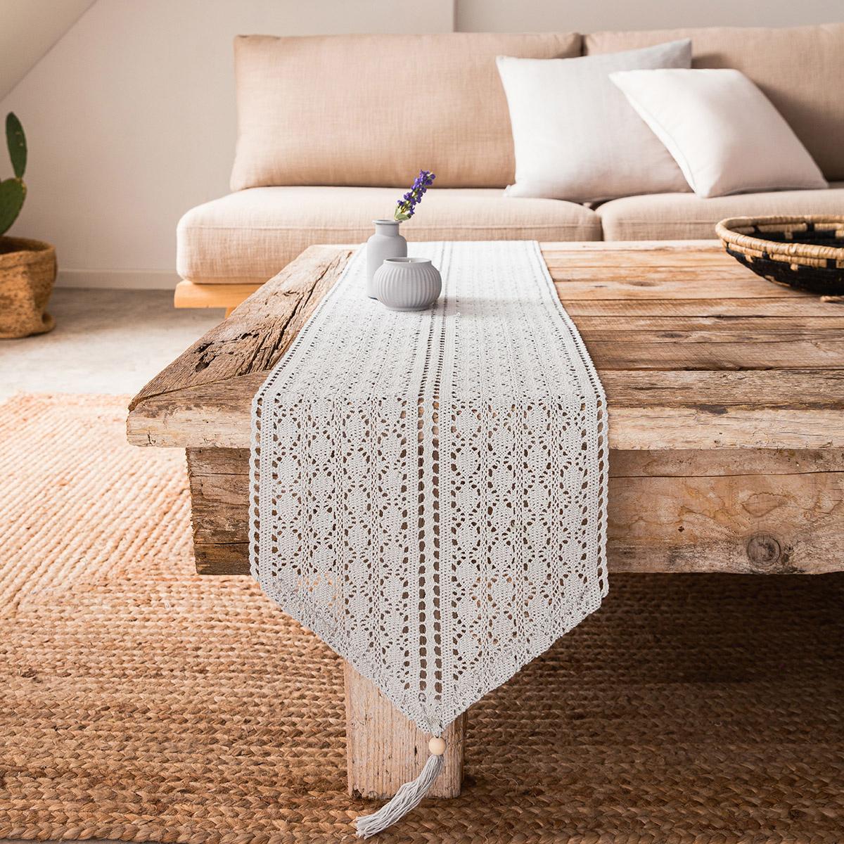 Τραβέρσα Gofis Home Crochet Grey 019/15