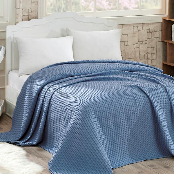 Κουβέρτα Πικέ Μονή Sb Home Waffle Blue