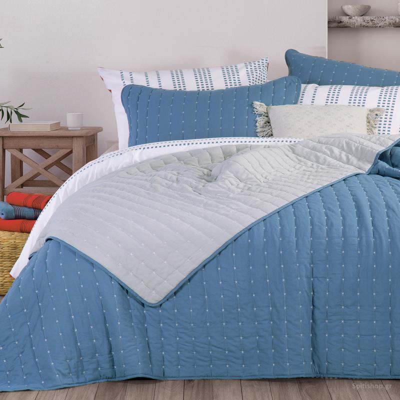 Κουβερλί King Size 2 Όψεων Nef-Nef Bicolor Blue/L.Grey