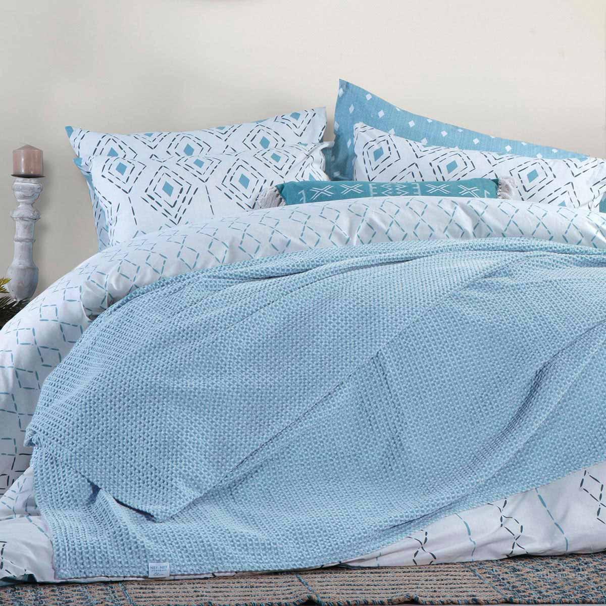 Κουβέρτα Πικέ Υπέρδιπλη Nef-Nef Blue Collection Ocean Blue