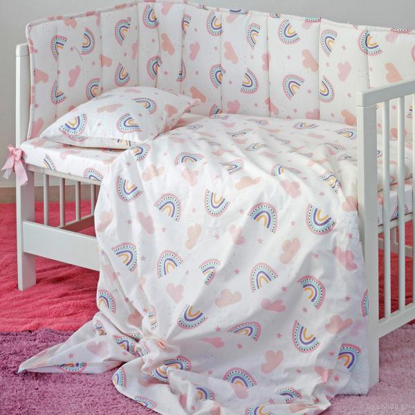 Σεντόνι Κούνιας Με Λάστιχο Melinen Baby Rainbow Girl