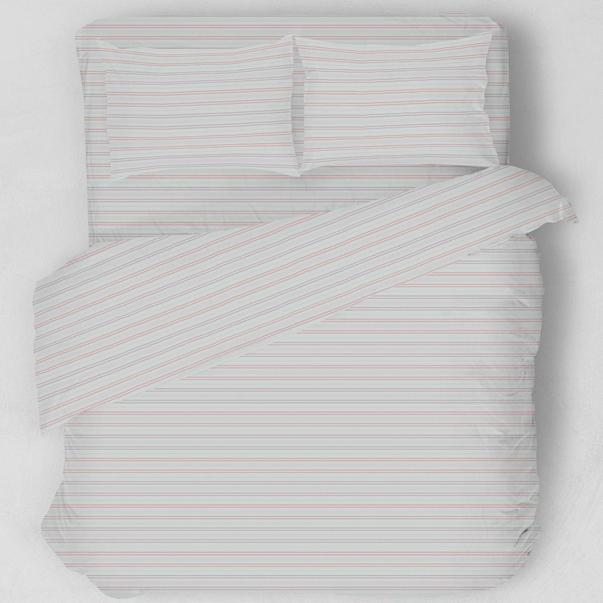 Σεντόνια Υπέρδιπλα (Σετ) Melinen Lines Apple/Grey ΧΩΡΙΣ ΛΑΣΤΙΧΟ 235×270 ΧΩΡΙΣ ΛΑΣΤΙΧΟ 235×270