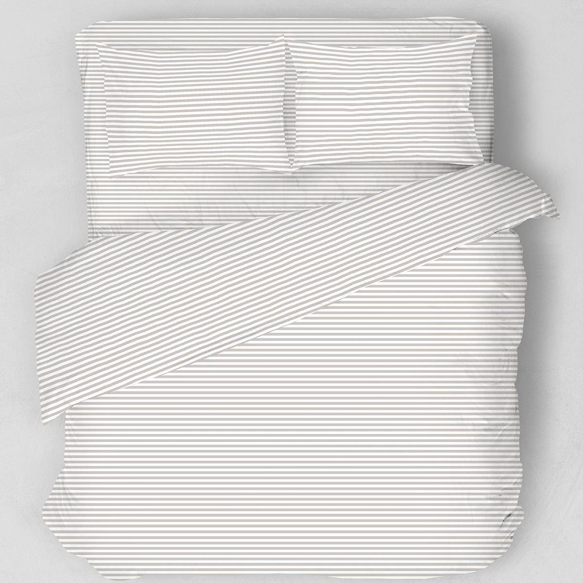 Σεντόνια Υπέρδιπλα (Σετ) Melinen Stripes Grey ΧΩΡΙΣ ΛΑΣΤΙΧΟ 235×270 ΧΩΡΙΣ ΛΑΣΤΙΧΟ 235×270