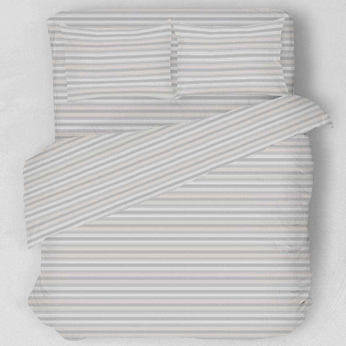 Σεντόνια Υπέρδιπλα (Σετ) Melinen Lines Grey/White ΜΕ ΛΑΣΤΙΧΟ 160×200+32 ΜΕ ΛΑΣΤΙΧΟ 160×200+32