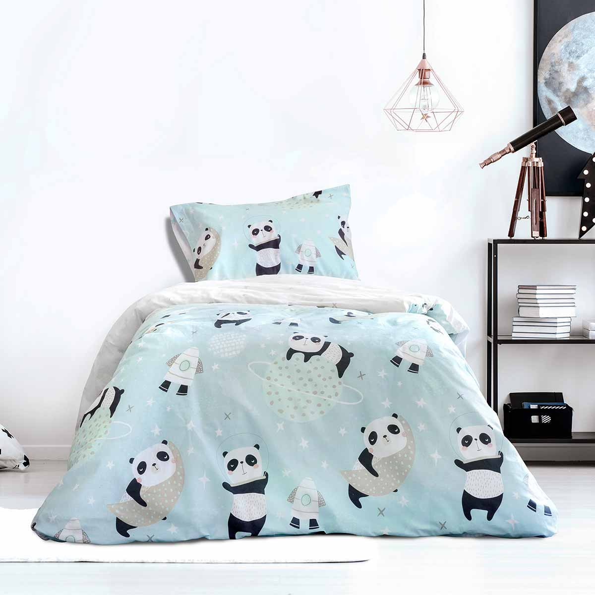 Σεντόνια Μονά (Σετ) Kocoon Space Panda ΜΕ ΛΑΣΤΙΧΟ 100×200+30 ΜΕ ΛΑΣΤΙΧΟ 100×200+30