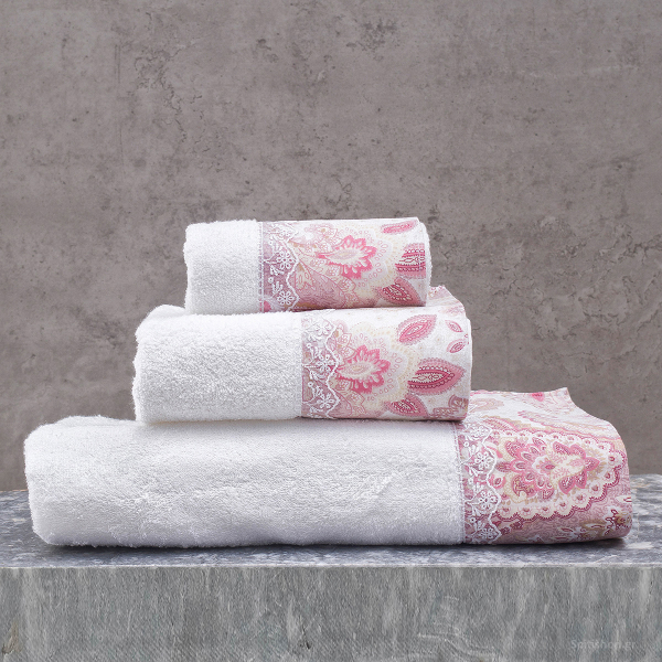 Πετσέτες Μπάνιου (Σετ 3τμχ) Rythmos Cassia White/Pink