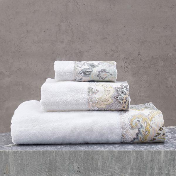 Πετσέτες Μπάνιου (Σετ 3τμχ) Rythmos Cassia White/Grey