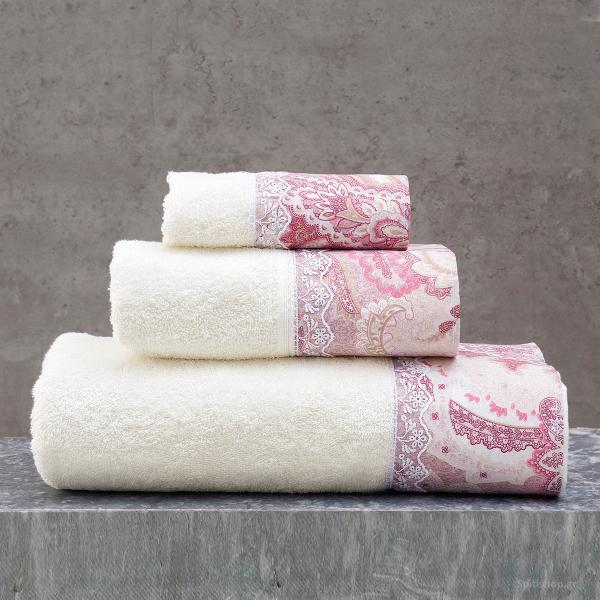 Πετσέτες Μπάνιου (Σετ 3τμχ) Rythmos Cassia Ecru/Pink
