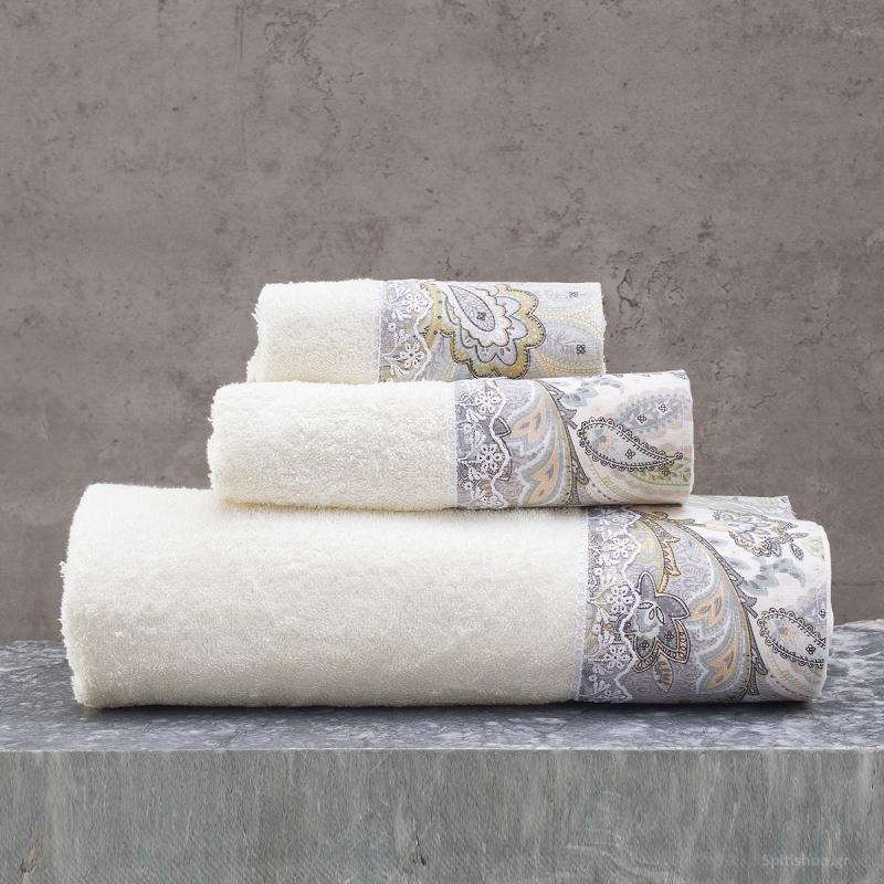 Πετσέτες Μπάνιου (Σετ 3τμχ) Rythmos Cassia Ecru/Grey