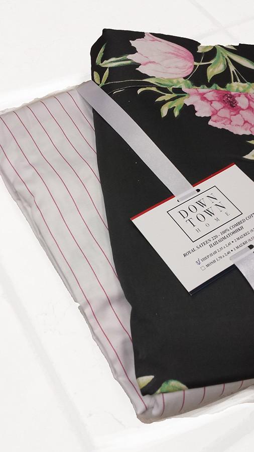 Παπλωματοθήκη Υπέρδιπλη (Σετ) Down Town Primo Roses Black