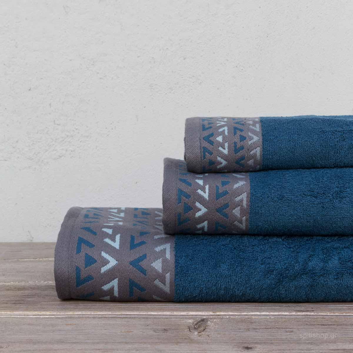 Πετσέτες Μπάνιου (Σετ 3τμχ) Kocoon Imane Blue