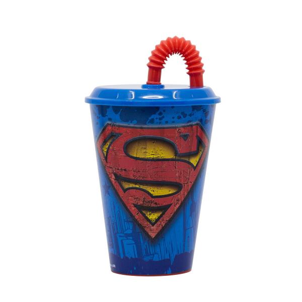 Ποτήρι Με Καπάκι & Καλαμάκι Stor Superman 85640