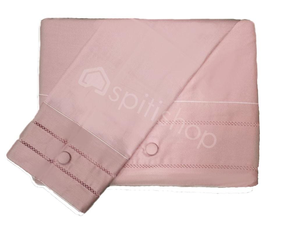 Παπλωματοθήκη Υπέρδιπλη (Σετ) Nima Satin Cotton Crocet 384 Pink
