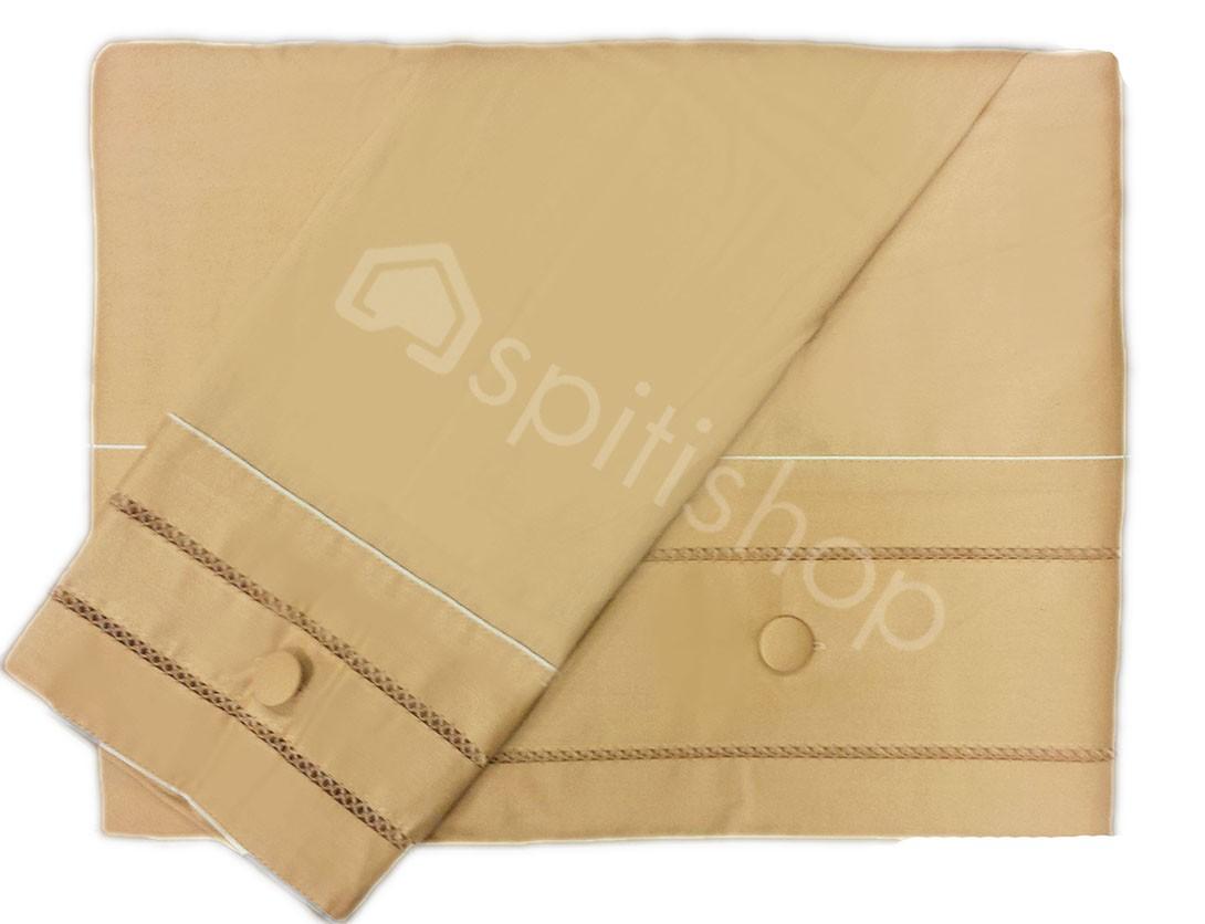 Παπλωματοθήκη Υπέρδιπλη (Σετ) Nima Satin Cotton Crocet 383 Beige
