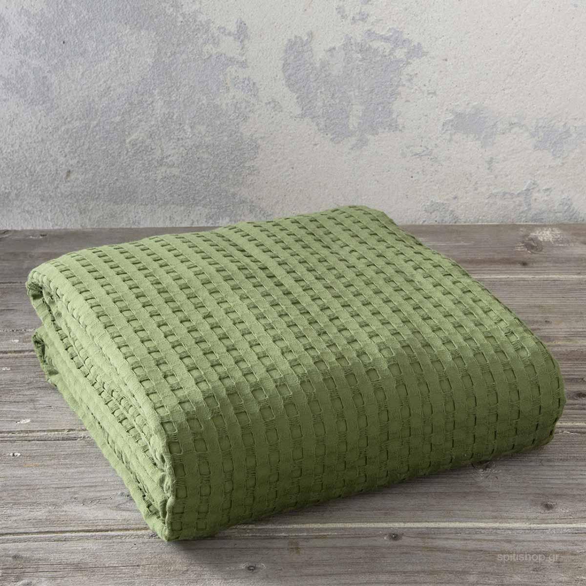 Κουβέρτα Πικέ Μονή Nima Bed Linen Habit Olive